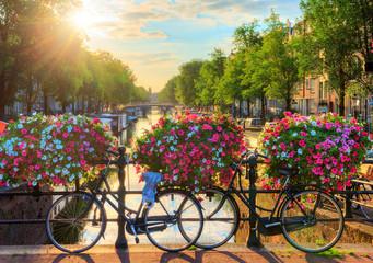 Beautiful summer sunrise on the famous UNESCO world heritage canals of Amsterdam, The Netherlands, with vibrant flowers and bicycles on a bridge