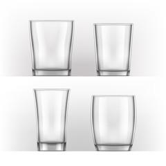 realistic glass cup. Transparent glassware