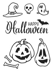 Hand drawn Halloween party elements. Halloween doodles. Set of Halloween pumpkins, witch hat, bat, ghosts, skull, sweets and lattering. Design illustration for poster, flyer.