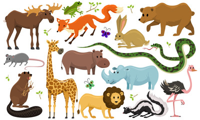 Cute animals for baby. Wild giraffe moose camel and deer, rhinoceros. hare, wolf and bear with lion and tiger. vintage world. Cartoon vector.
