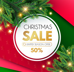 Christmas Sale Banner. Holiday Background with Fit Tree Branches and Golden Balls.