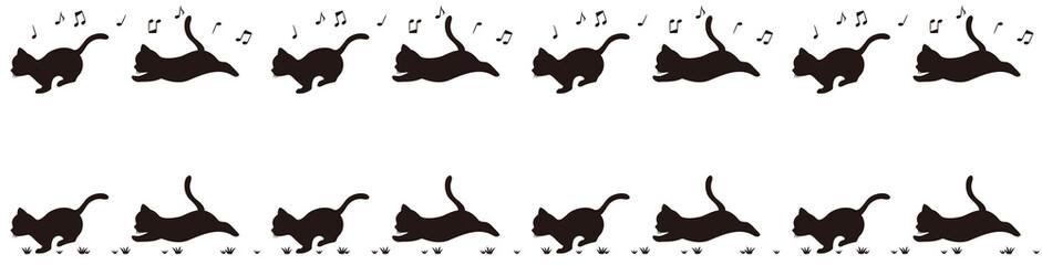 走る子猫のシルエットライン(モノクロ)