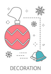 Christmas decoration concept. Line poster or greeting card