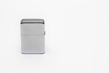 metal cigarette lighter on white background close-up