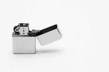 metal cigarette lighter on white background close-up