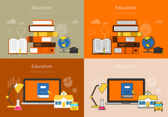 Flat vector illustration concepts of education and online learning.