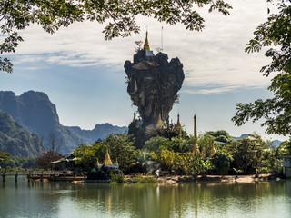 Unique enchanting Buddhist Kyauk Kalap Pagoda in Hpa-An, Myanmar (Burma)