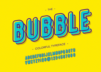 Vector bubble 3d bold alphabet trendy typography sans serif style for book, promotion, poster, decoration, t shirt, sale banner, printing on fabric. Cool font. Modern typeface. 10 eps