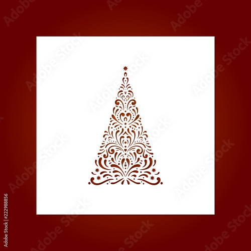 laser cut template for christmas cards with christmas tree invitations for christmas party image - Laser Cut Christmas Cards
