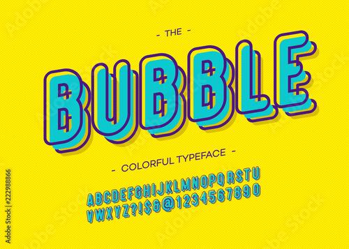 Vector bubble 3d bold alphabet trendy typography sans serif
