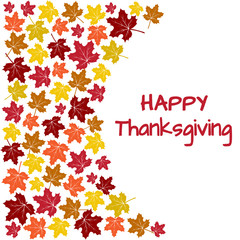 Background with colorful autumn maple leaves for Thanksgiving Day. Vector illustration
