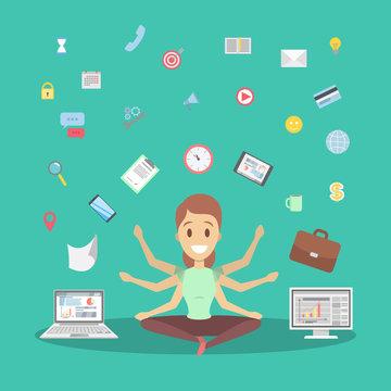 Business woman in lotus pose having break at work