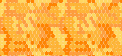 Vector Honeycomb Abstract Seamless Pattern, Orange and Yellow.