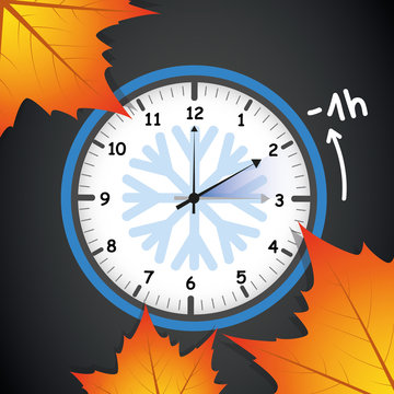switch to winter time concept for daylight saving with autumn leaves on black background