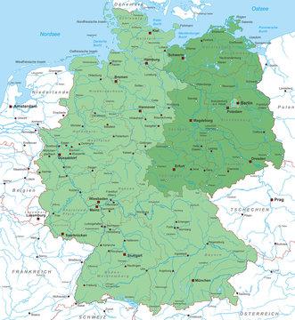 Karte von Deutschland - Ost/ West - Neue Bundesländer - interaktiv