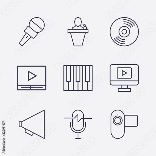 Outline 9 sound icon set  microphone, megaphone, video camera