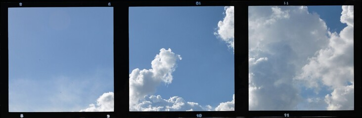 Triple vintage film strip frame with blue sky and clouds.
