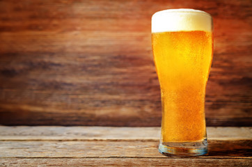 Glass of cold light beer