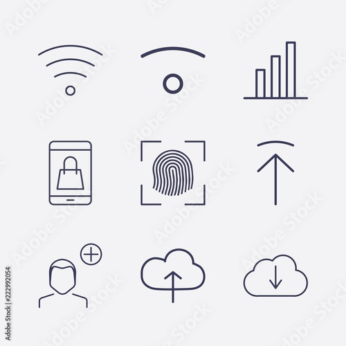 Outline 9 touch icon set  add user, cloud upload, upload