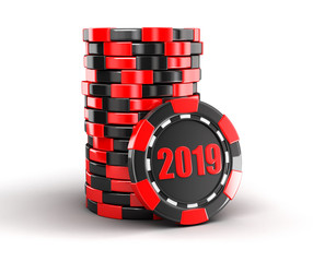 chip of casino 2019. Image with clipping path