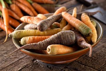 Raw Fresh Organic Heirloom Carrots in a Bowl