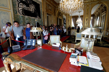 People visit the French President's office at the Elysee Palace during the European Heritage Days event at the Elysee Palace in Paris