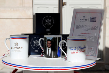 A stand with souvenirs bearing the Elysee Palace logo to launch the presidential brand named ''Elysee Presidence de la Republique'' is seen in the courtyard of the Elysee Palace as part of the European Heritage Days event in Paris