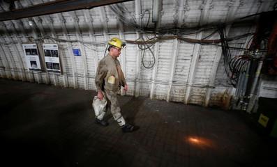 A coal miner leaves his shift at Germany's last coal mine 'Prosper Haniel' of RAG corporation in Bottrop