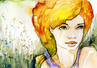 Photo sur Toile Inspiration painterly Watercolor illustration, portrait of a woman.