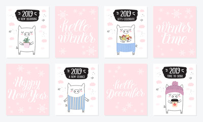 Creative postcard collection. New 2019 Year with cute pigs.