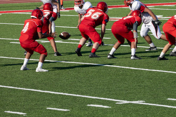 Football Players setting up for the play – Hikes the ball to the quarterback