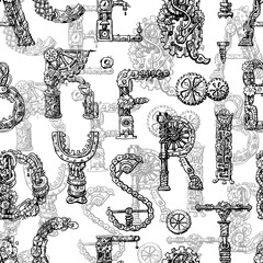 Hand drawn vector seamless pattern with mechanical letters.