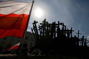 The Monument to the Fallen and Murdered in the East is pictured after the ceremony commemorating the 79th anniversary of the Soviet Union's invasion of the eastern part of Poland during the outbreak of World War II, in Warsaw