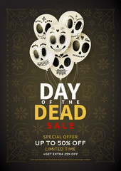 Festive flyer of Day of the Dead sale. Dark background with white balloons. Vector illustration for seasonal discount offer..
