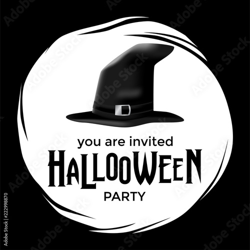 halloween party with wizard hat trick or treat event poster and
