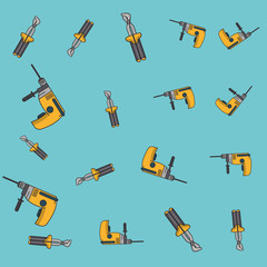 Drill and screwdriver pattern background