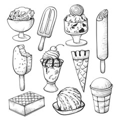 Ice cream sketch set for shop or cafe decor