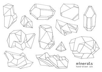 Set of hand-drawn line art polygonal crystals. Vector graphics collection