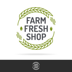 Vector farm fresh shop logo set color line style isolated on background for healthy food market, farming product, organic company, vegan cafe, eco store, nature firm, garden. 10 eps