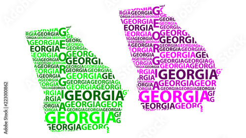 Sketch Georgia United States Of America Letter Text Map Georgia