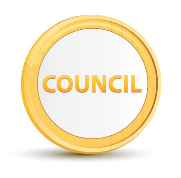 Council gold round button