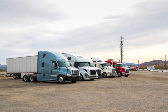 Semi Trucks at road side truck stop