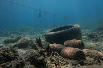 A wheel is seen at the bottom of the sea off the island of Thasos