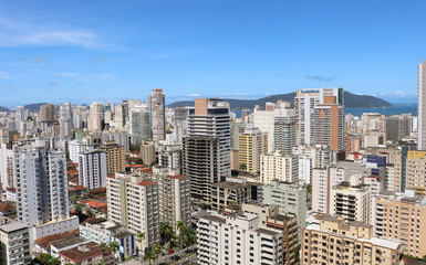 Panoramic day view of the buildings of the city of Santos, São Paulo, Brazil
