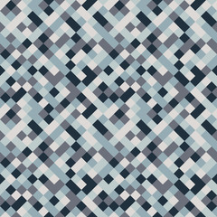 Seamless pattern made of colorful squares rotated by 90 degrees, endless mosaic texture made of blue and grey shades, fashionable background, great texture for 8bit games