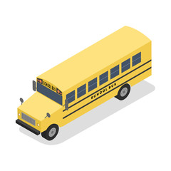 Big yellow isometric school bus for pupil