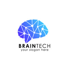 brain connection logo vector icon. digital brain. brain hub logo design.