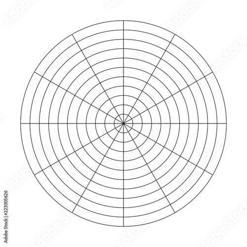 Polar grid of 10 concentric circles and 30 degrees steps. Blank ...