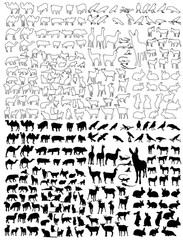 isolated outlines and silhouette of animals, set