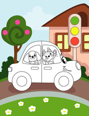 Coloring book page for preschool children with colorful background and sketch car for coloring